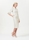Calf length silk dress with pleated shoulders in champagne raw silk - Nicola