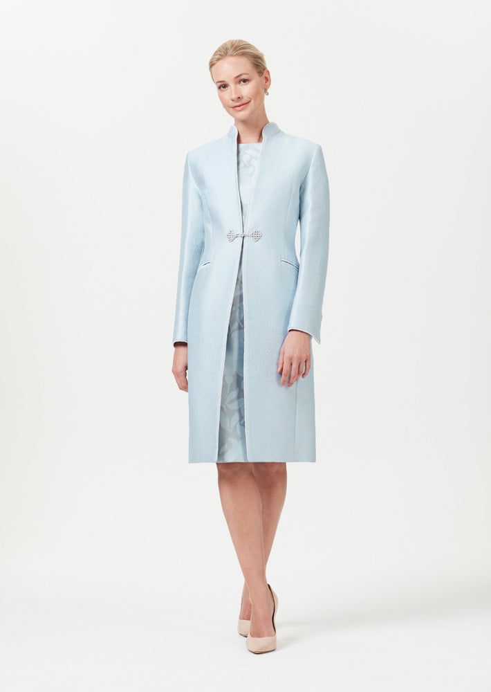 Pale Blue Dress Coat in Silk Brocade with Cord Trim and Frogging - Vicky