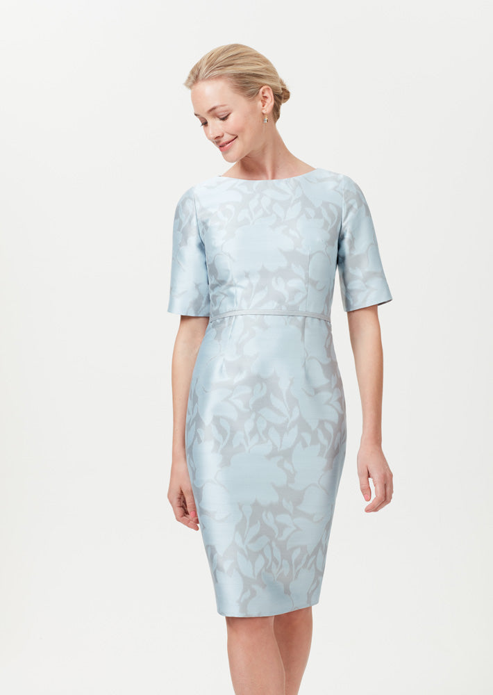 Sky Blue/Grey Silk Floral Jacquard Dress - Angie
