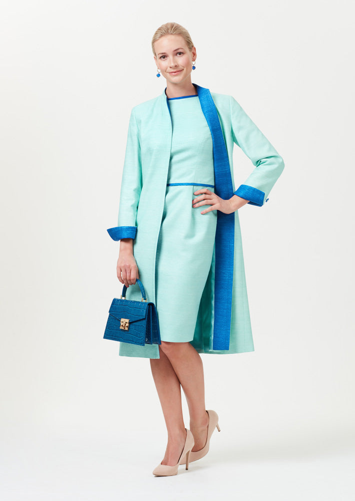 Silk Duster Coat in Aqua with Sapphire Facings  - Leila