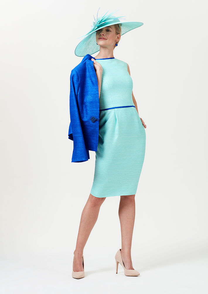 Silk Shift Dress in Aqua with Sapphire Blue Trim and Waist Detailing - Lee