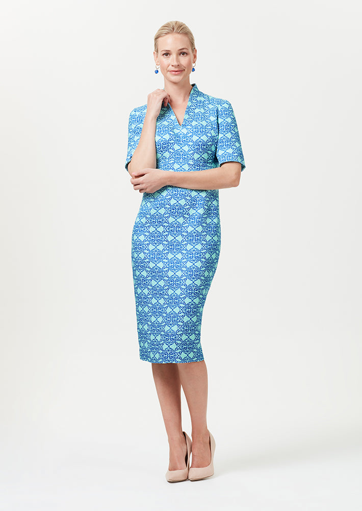Longer Length Silk/Wool Shift Dress with Sleeves in Aqua and Royal Matelassé - Em