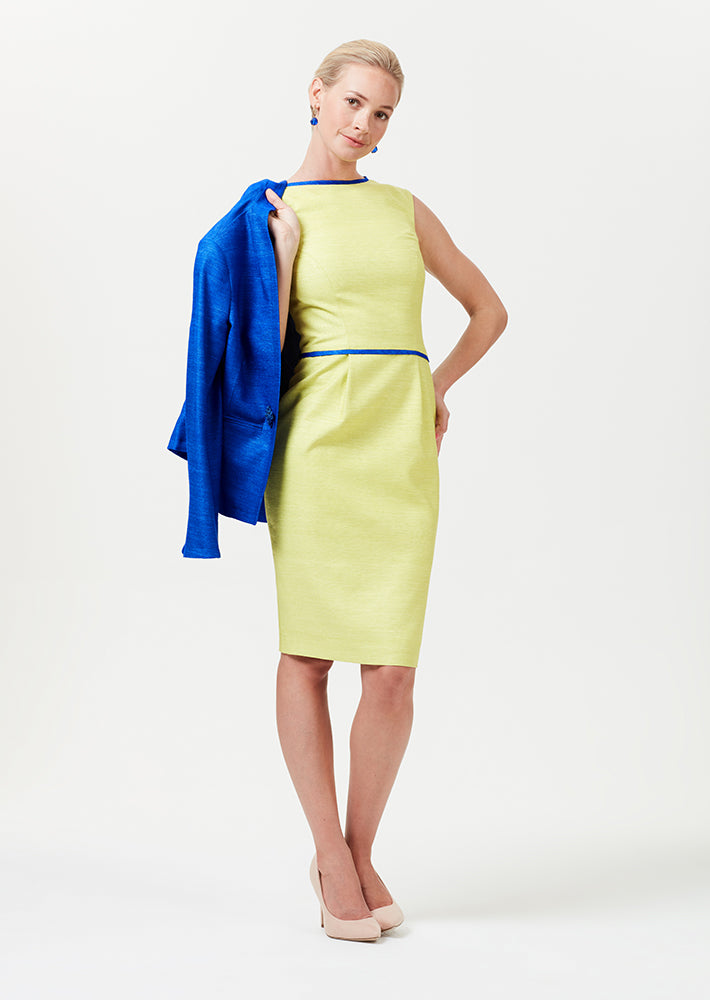 Shift dress in lime with sapphire blue detailing - Lee