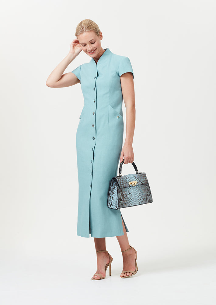 Button Through Midi Dress in Sea Green Linen Mix - Nina