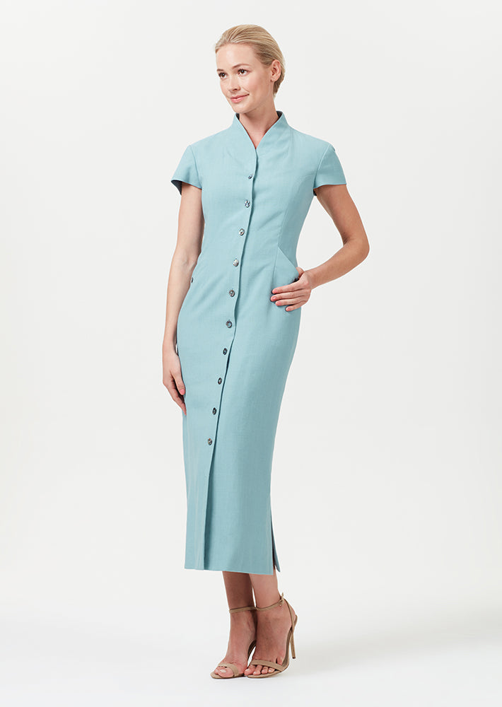 Button through midi dress in sea-green linen mix - Nina