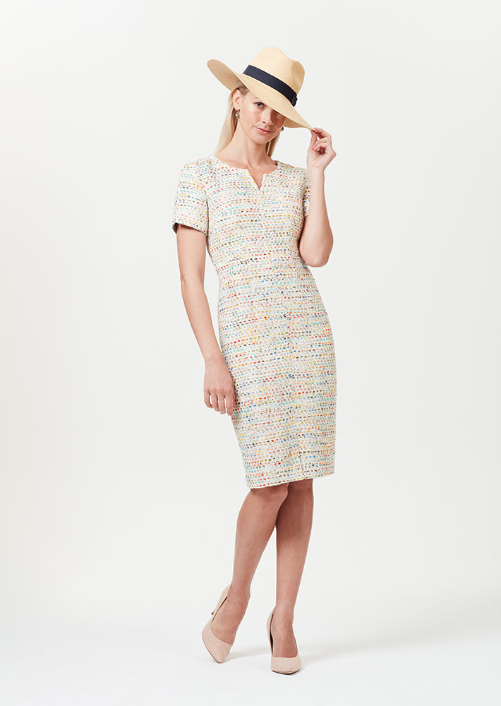 Summer tweed shift dress in cream with various shades running through - Eve