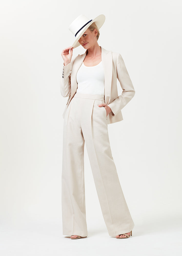 Wide leg trousers with pleats in biscuit linen-mix - Portia