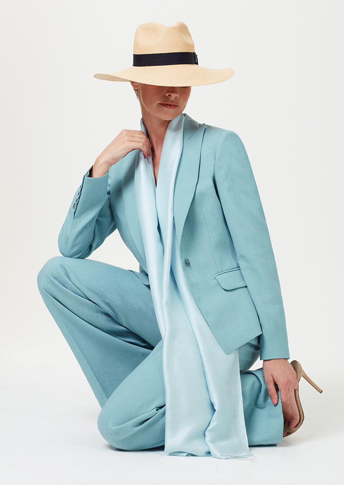 Blazer Jacket in Sea Green Linen Mix - Inez