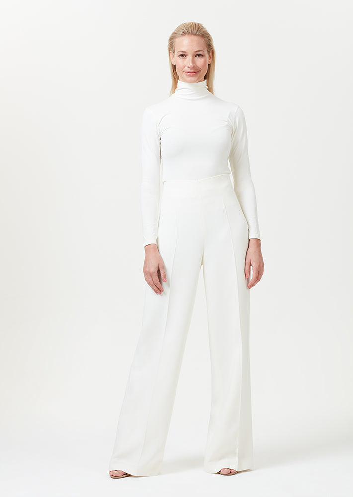 Wide leg trousers in plain ivory faille - Paloma