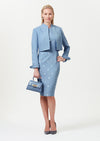 Short ocean blue faille jacket - Hermione