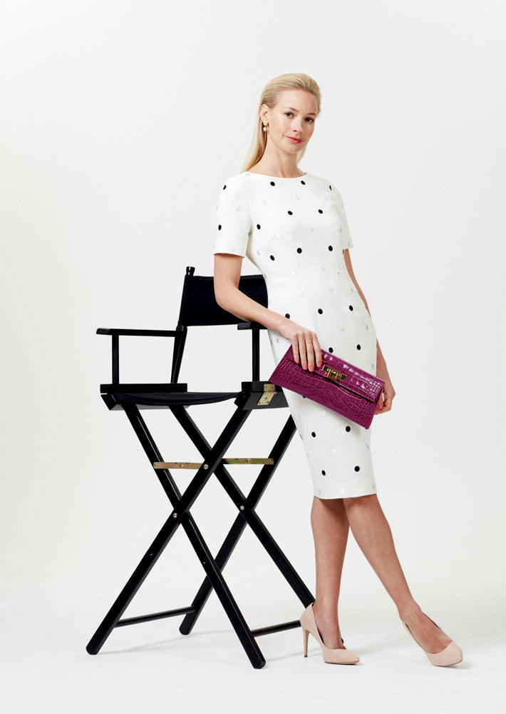 Shift Dress in Plain Ivory Faille with Embroidered Dots - Angie