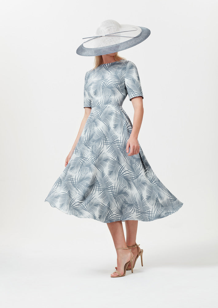 Midi Length Dress with Sleeves in Stone and Slate Italian Printed Silk Cloqué - Lexie