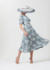 Midi length dress with sleeves in stone/slate Italian printed silk cloqué - Lexie