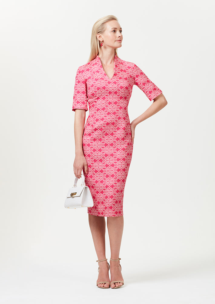Longer Length Silk/Wool Shift Dress with Sleeves in Fuchsia and Ivory Matelassé - Em