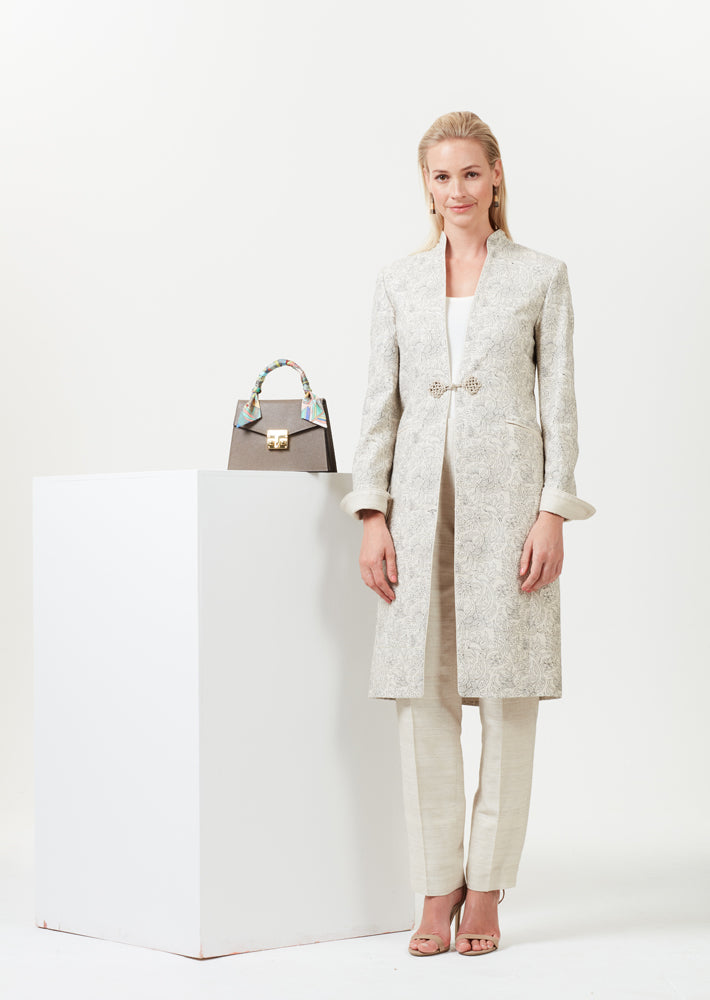 Dress-coat in beige embroidered raw silk and frogging fastening - Vicky