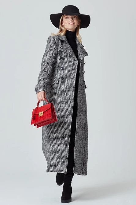 Maxi Coat in Black and White Herringbone - Granville