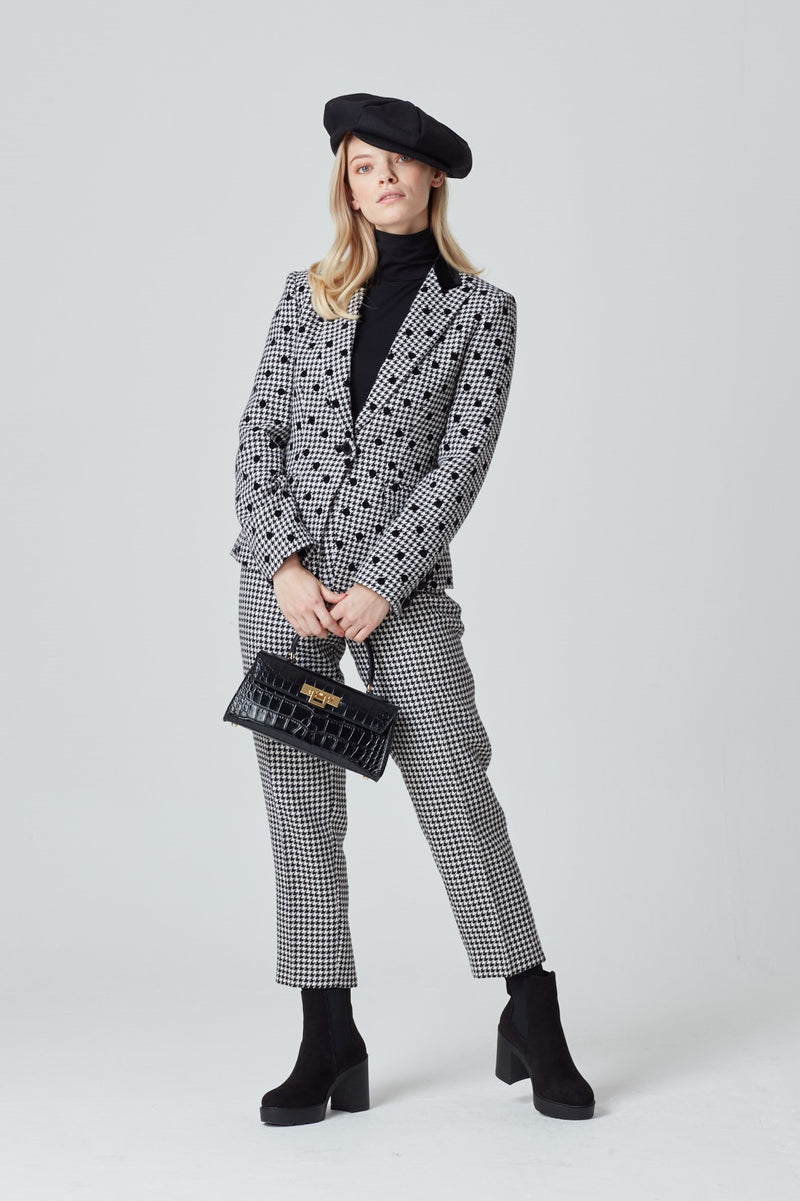 Cropped Narrow Pants in Black and White Dogtooth Check - Phoebe