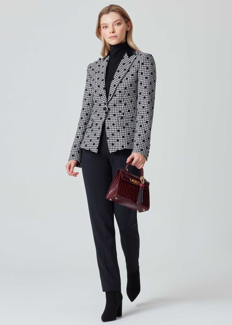 Dogtooth Check Jacket with Dots in Black and White - Inez