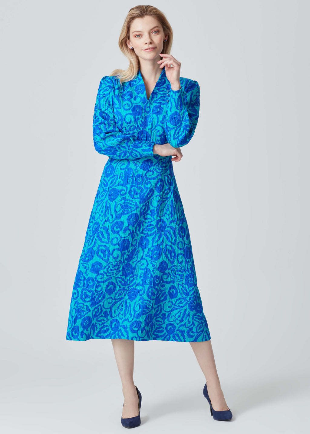 Smart Dress in Silk/Wool Printed Matelassé - Sophie