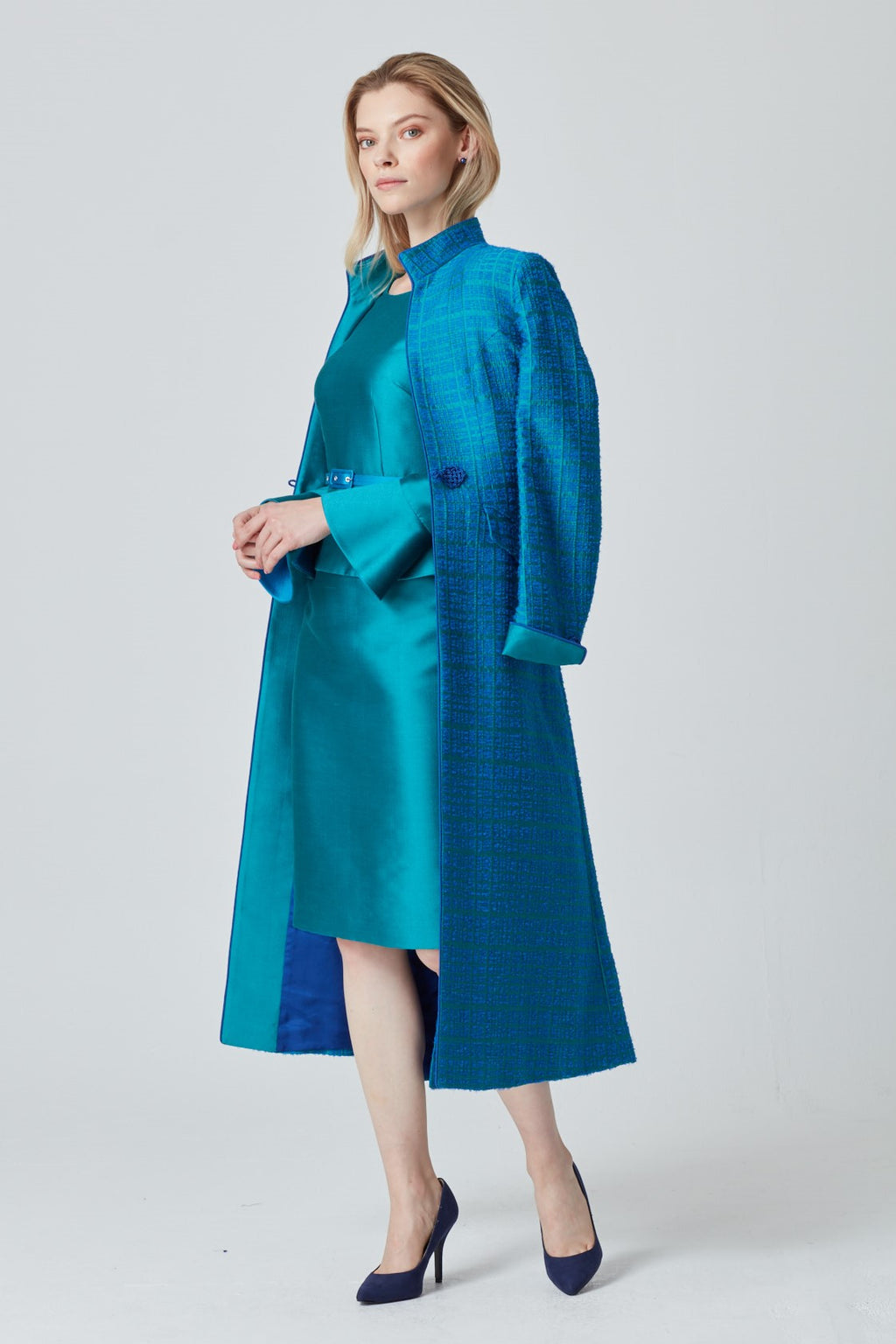 Midi Length Silk Dress Coat in Emerald Silk Jacquard - Vanessa