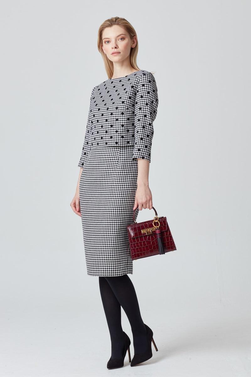 Dogtooth Check Dress with Floating Bodice - Rolanda