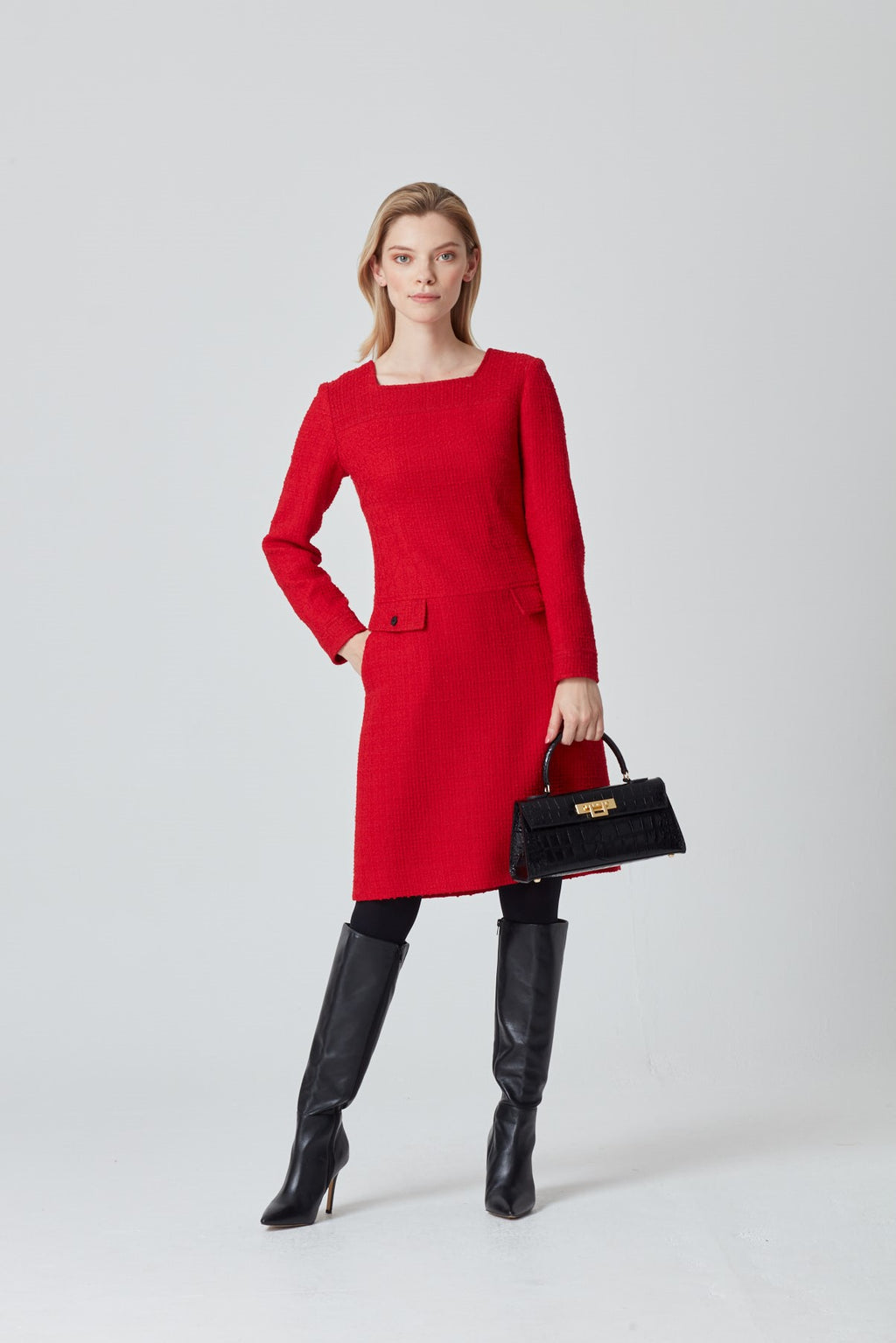 Red A-Line Dress with Long Sleeves and Dropped Waist - Tina