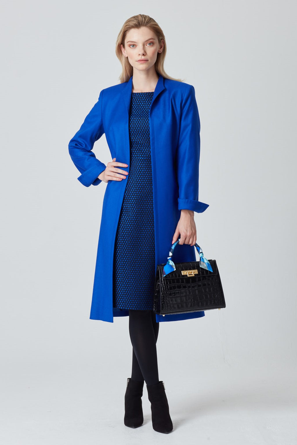 Sapphire Blue Coat in Light-Weight Wool - Leila