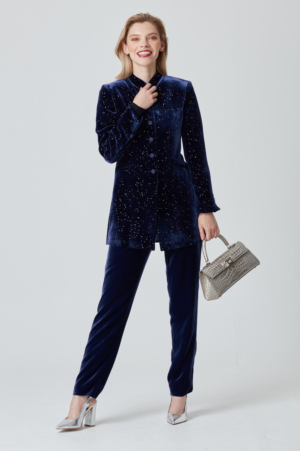 Velvet Jacket in Navy Starlight Print - Zoe