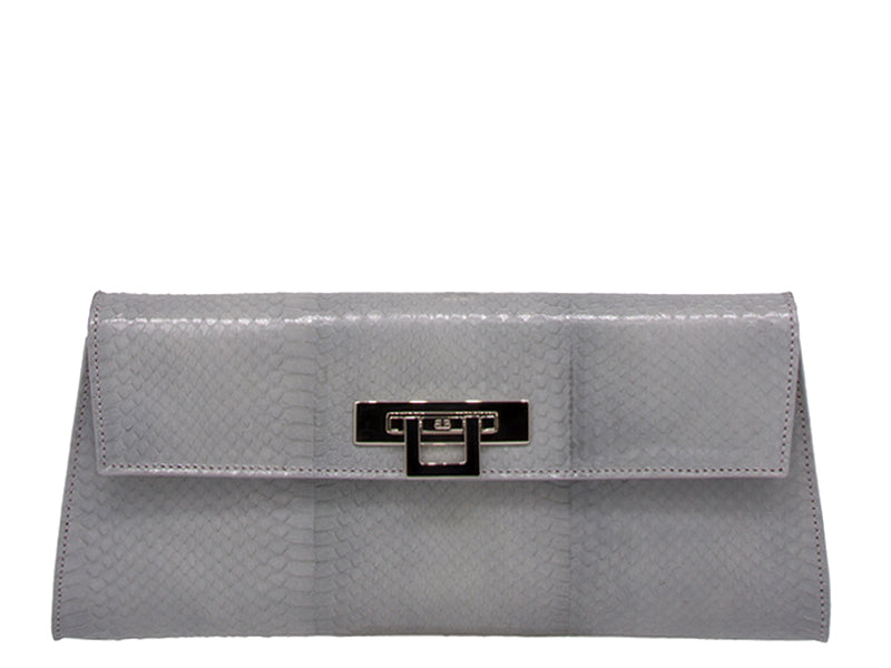 Fonteyn Clutch Snake Skin Leather Handbag - Light Grey