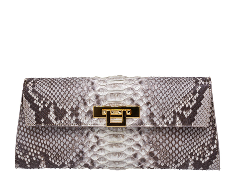Fonteyn Clutch Python Skin Leather Handbag - Natural