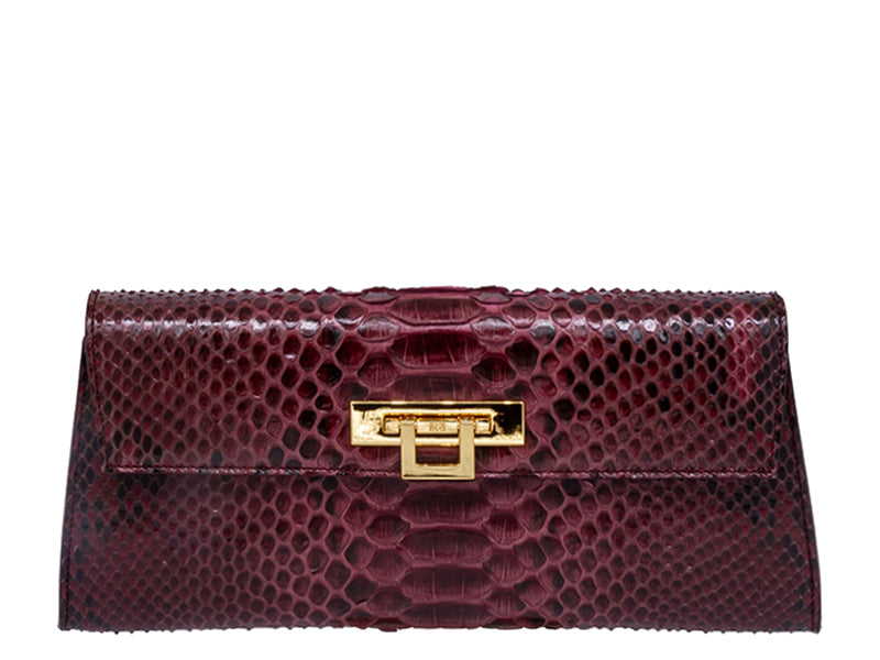 Fonteyn Clutch Python Skin Leather Handbag - Wine