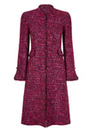 Fuchsia Tweed Coat with Floating Back Panel - Claire