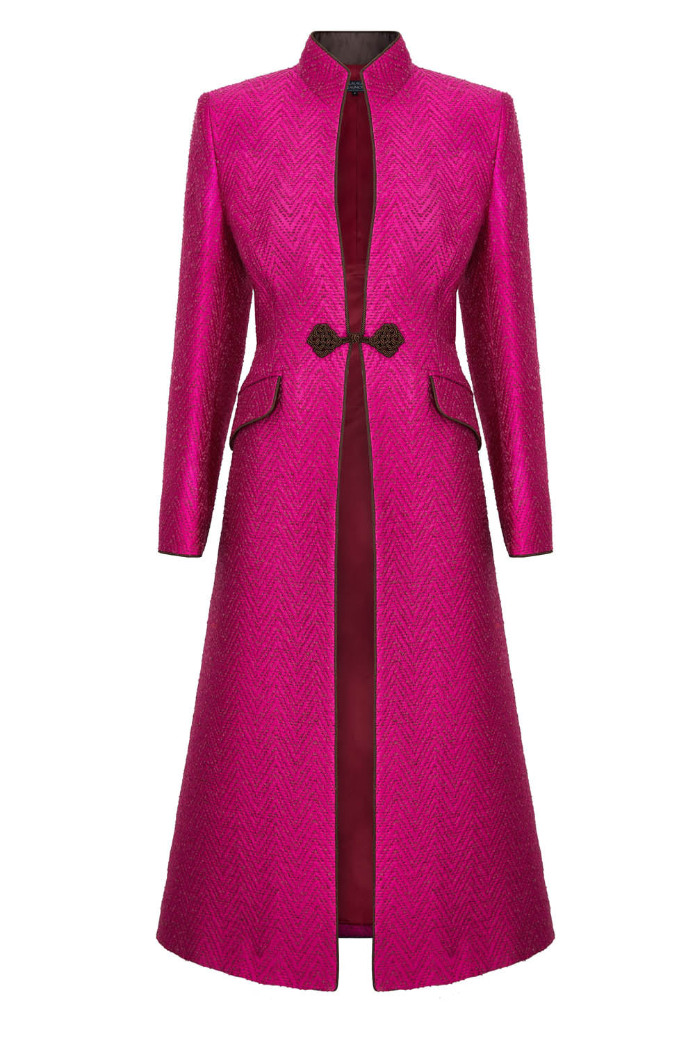 Silk Dress Coat in Fuchsia and Mocha Jacquard - Vanessa