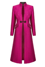 Midi Length Silk Dress Coat in Fuchsia and Mocha Jacquard - Vanessa