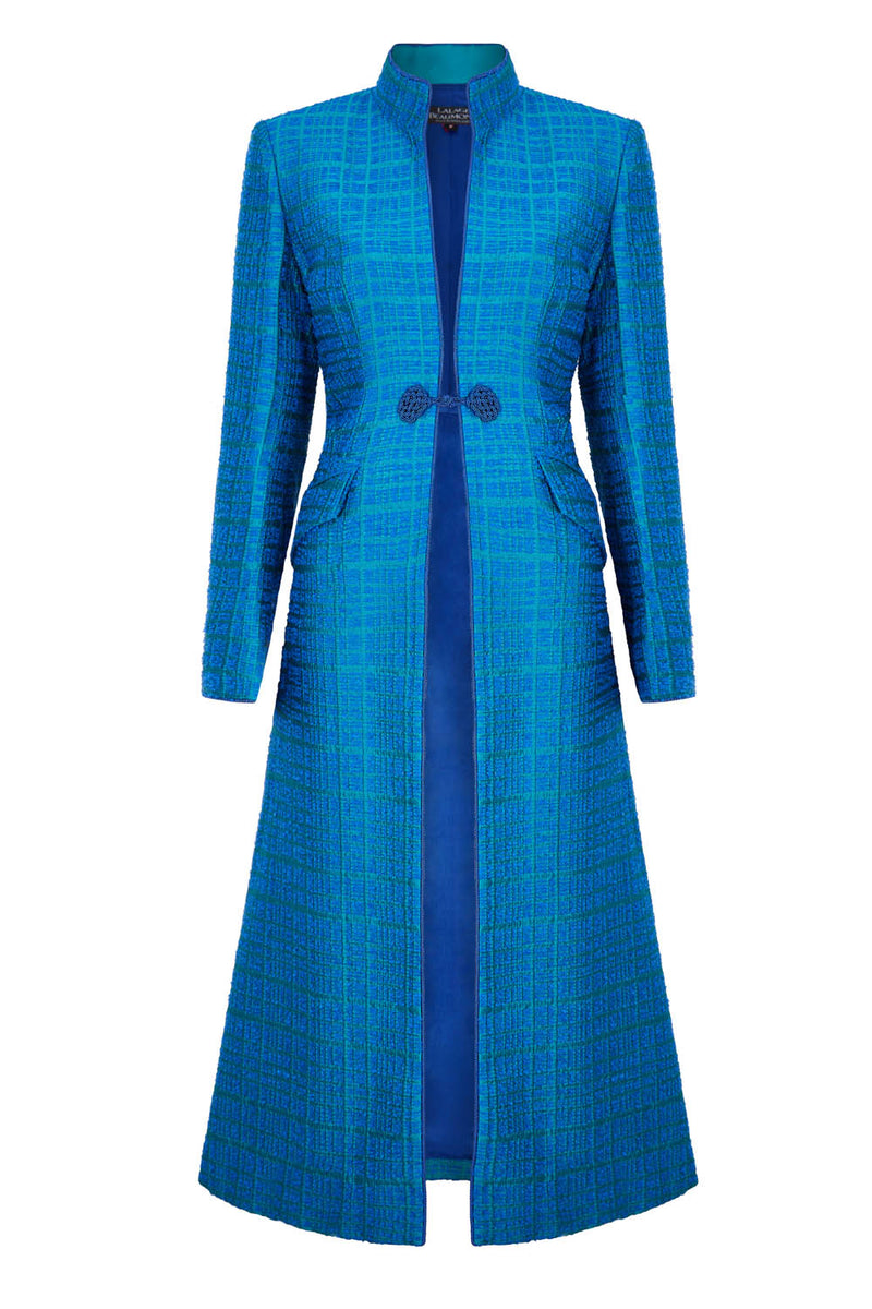 Midi-Length Silk Dress Coat in Emerald Silk Jacquard - Vanessa