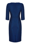 Sapphire Blue and Black 3/4 Sleeve Shift Tweed Dress - Angela