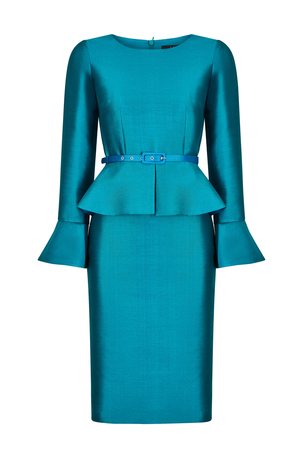 Emerald and Teal Silk Peplum Dress with Fluted Cuffs - Catherine