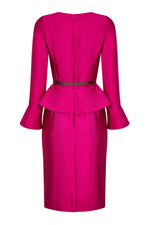 Fuchsia and Mocha Silk Peplum Dress with Fluted Cuffs - Catherine