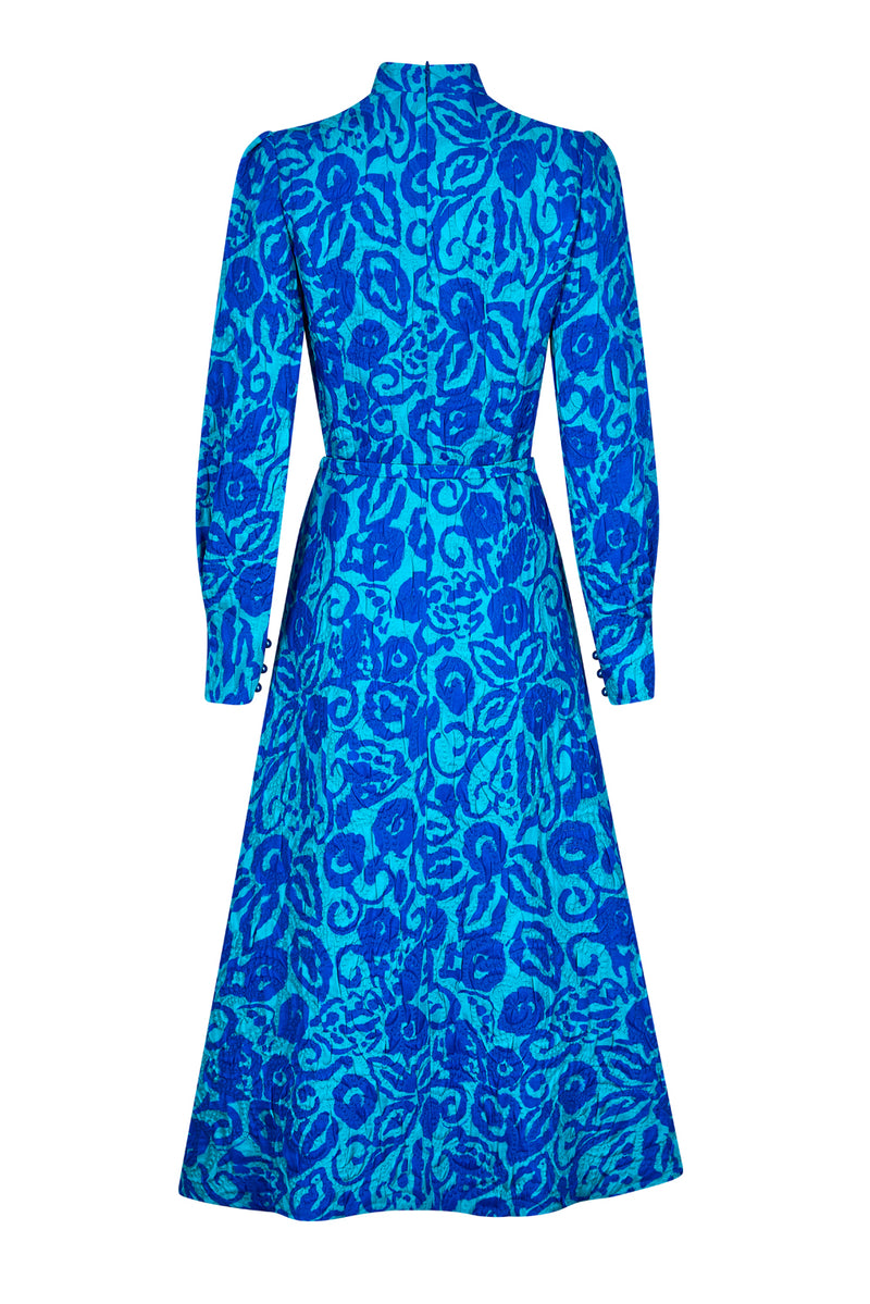 Smart winter dress in silk/wool printed matelassé - Sophie