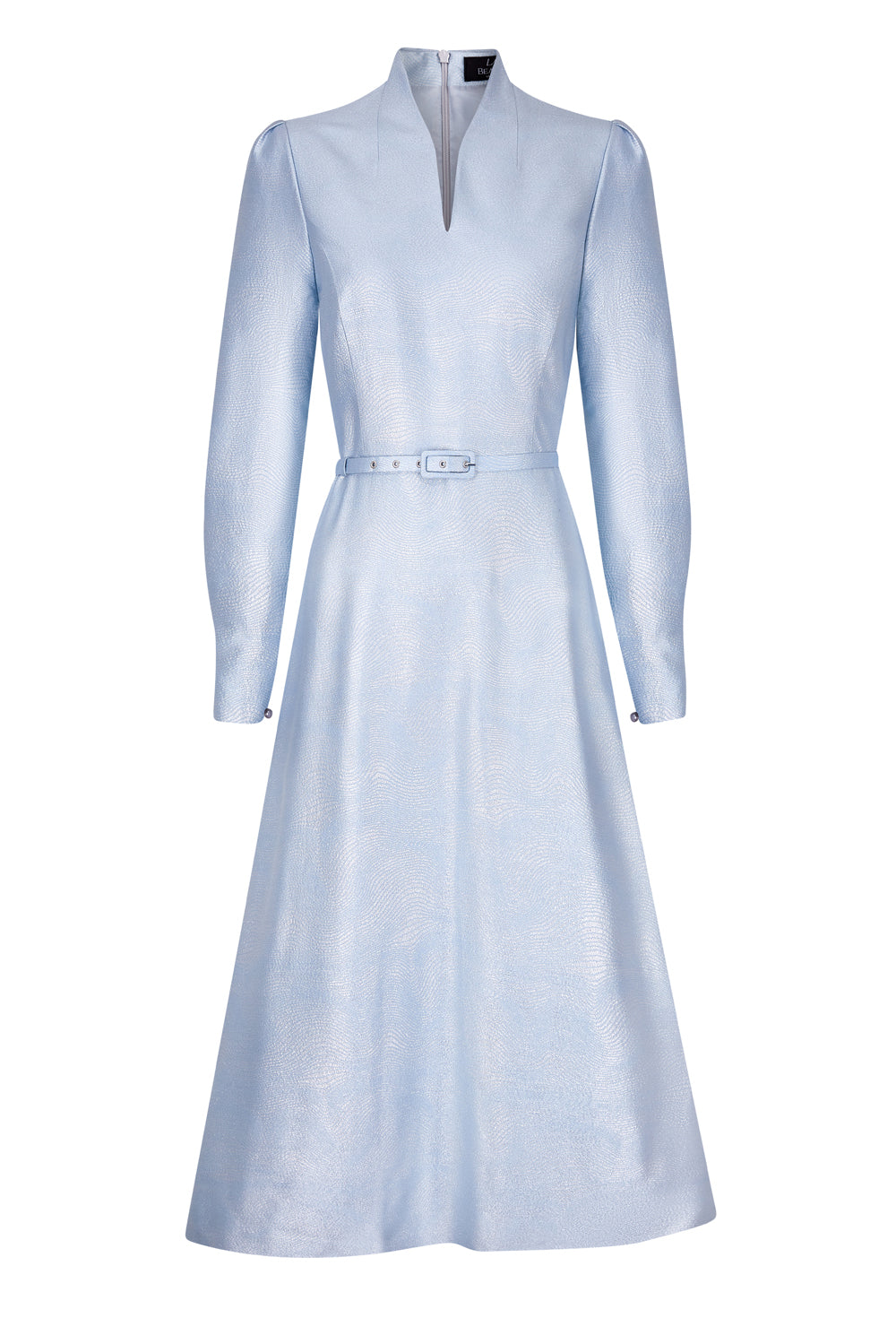 Ballerina Length Silk Dress in Pale Blue and Silver - Sophie