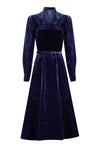 Navy Embroidered Faille Dress - Rolanda