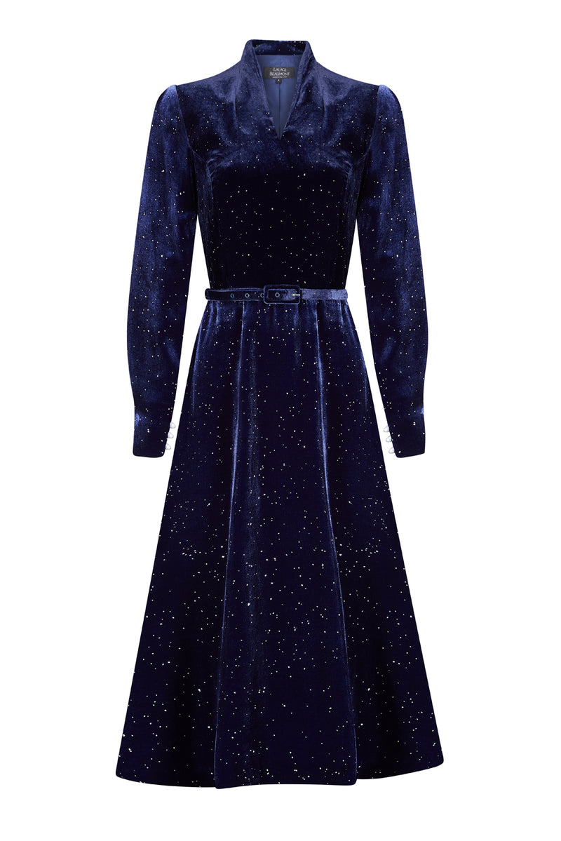 Velvet Midi Dress in Starlight French Navy - Sophie