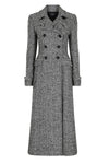 Maxi-Coat in Black and White Herringbone - Granville