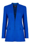 Royal Blue Fitted Dress with Long Sleeves and High Neck - Tricia