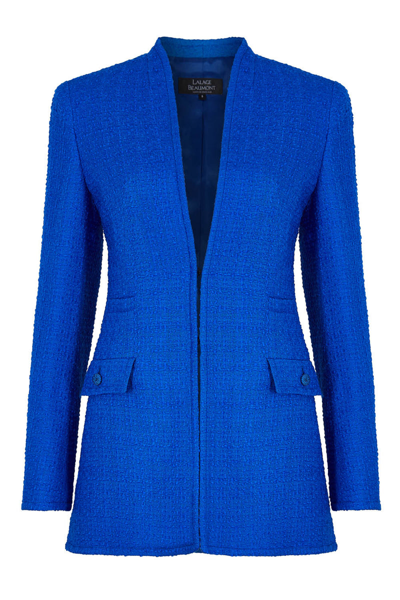 Royal Blue Tweed Jacket - Evelyn