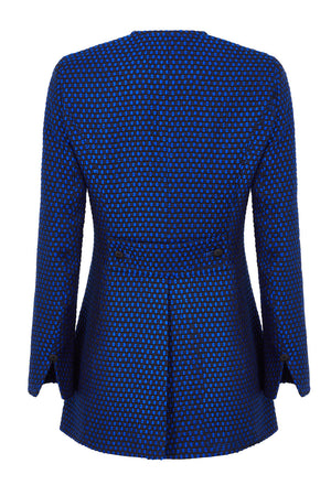 Long Jacket in Sapphire Blue and Black Tweed - Serena