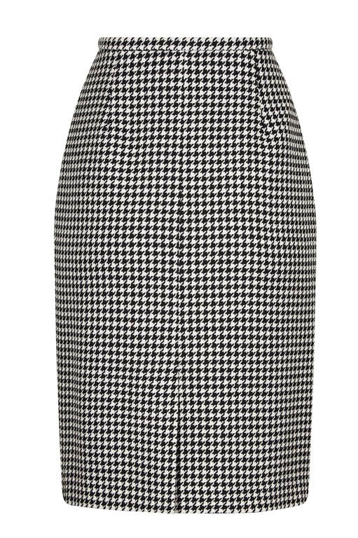Dogtooth Check Skirt in Black and White - Penny