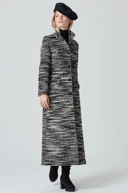 Black and White Maxi Coat in Mohair/Wool - Hattie