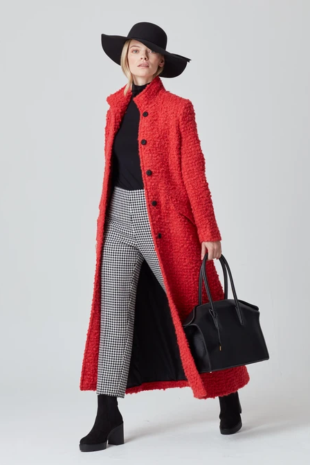 Red Maxi Coat in Mohair/Wool - Hattie
