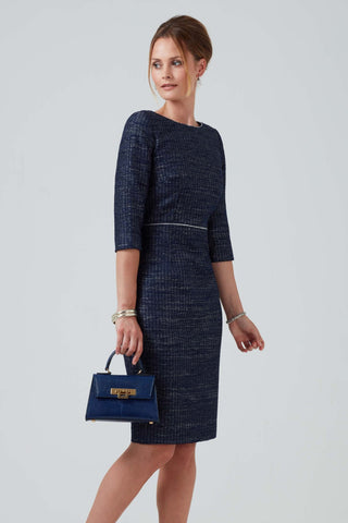 Navy/Multi-Coloured All over Tweed Coat - Claire
